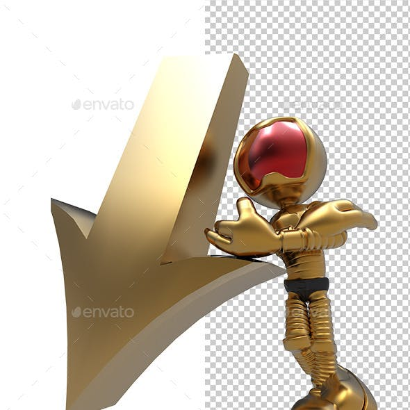 3D Astronaut Tell Down Direction Arrow