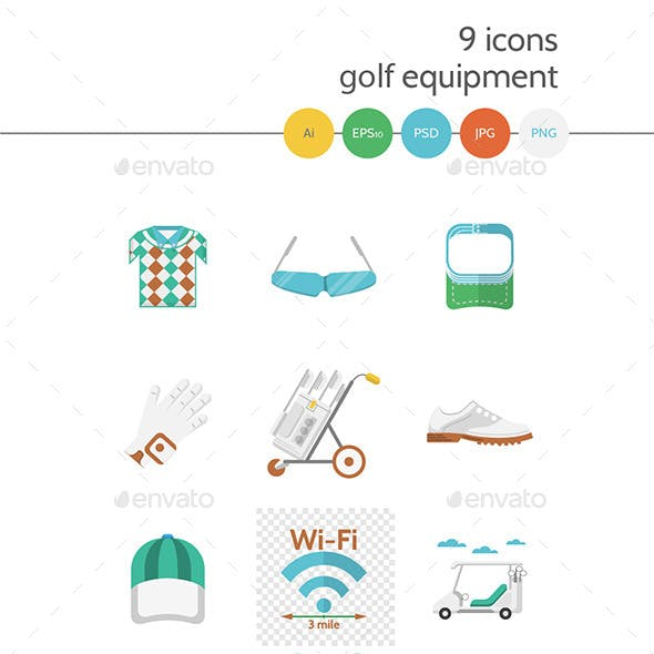 Flat Colored Icons for Golf
