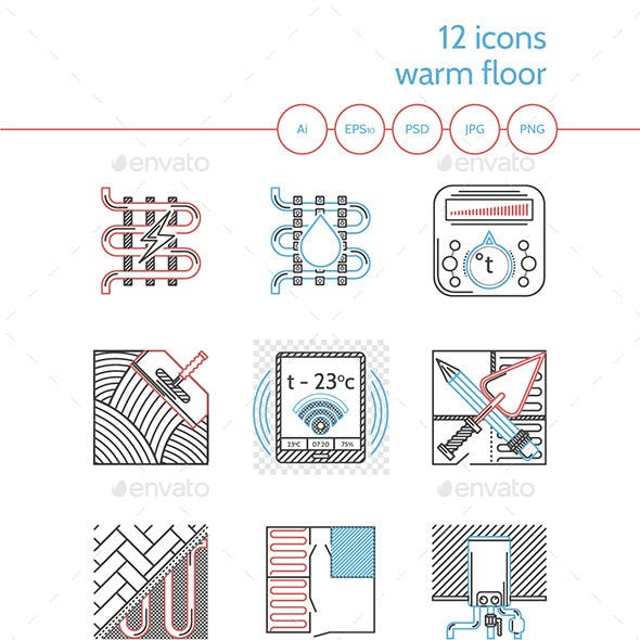 Flat Line Colored Icons for Heated Floor