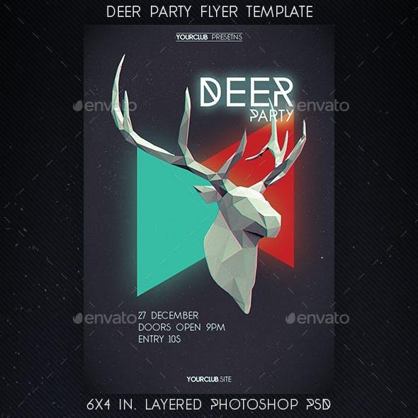 Lowpoly Deer Party Flyer