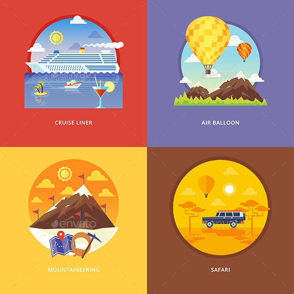 Flat Travel and Tourism Concepts