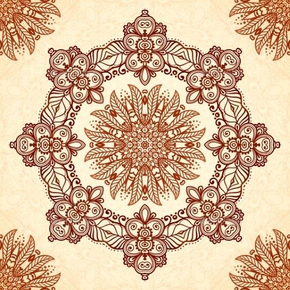Vintage Mandala Seamless Pattern In Indian Mehndi