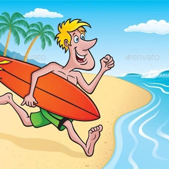 Surfer Going Surfing on Tropical Island