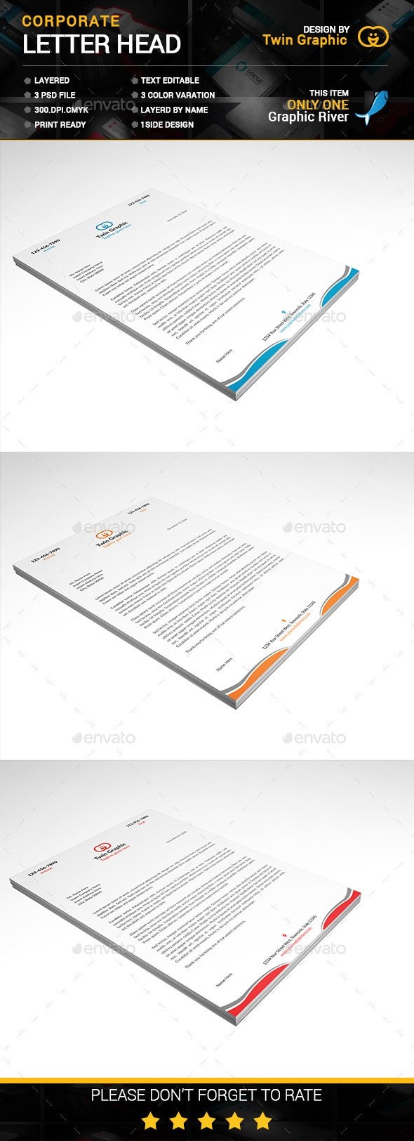 Corporate Letter Head Design - Stationery Print Templates