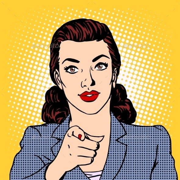 Businesswoman Wants Business Concept