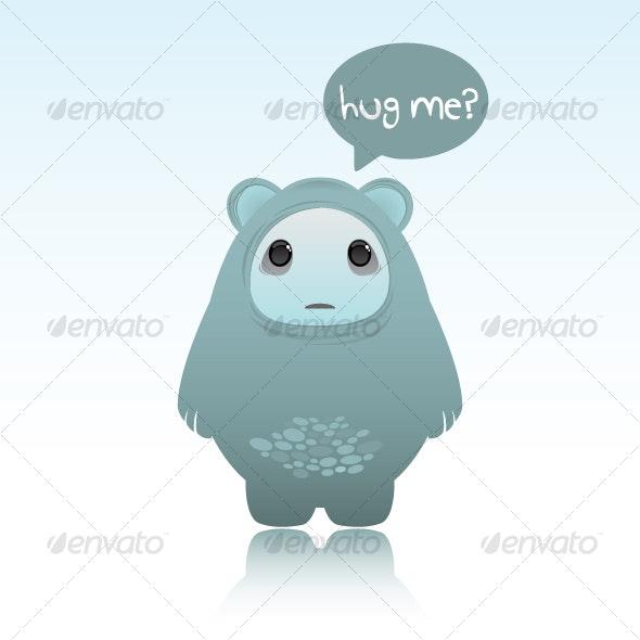 Cute sad looking ghost bear - Monsters Characters