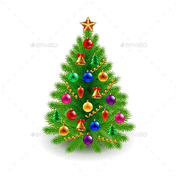 Green Decorated Christmas Ttree Isolated on White