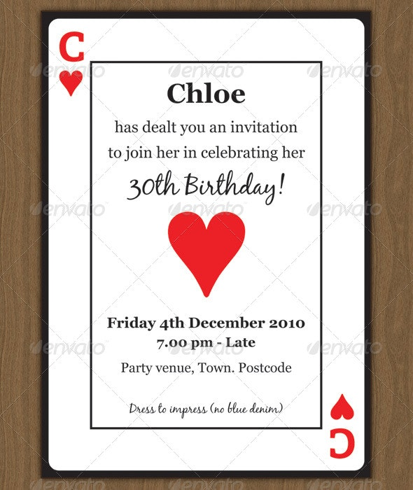 Playing Card Invitation - Invitations Cards & Invites