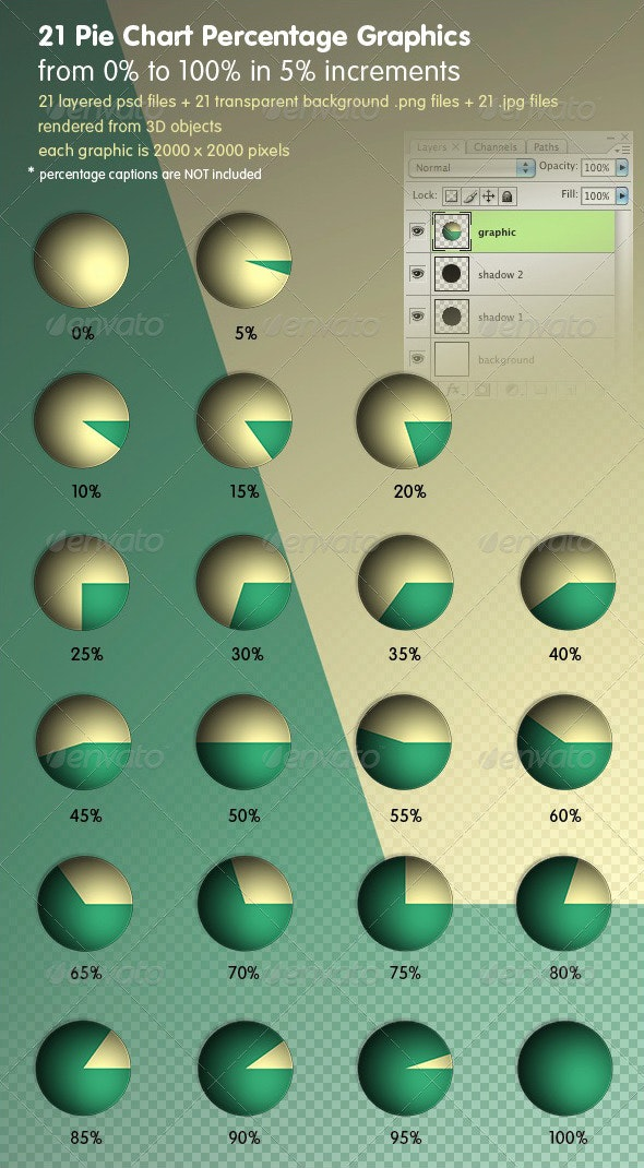 Pie Chart Percentage Graphics - Miscellaneous 3D Renders