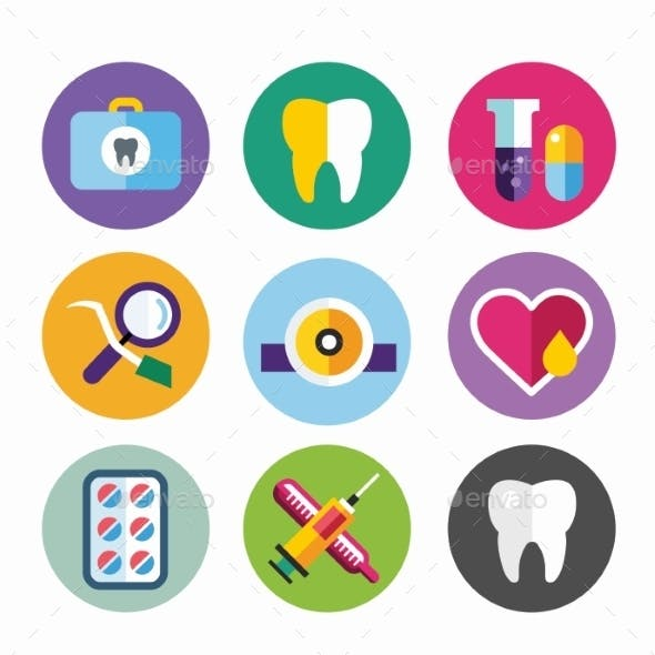 Dental Vector Icons Set Clinic Logo
