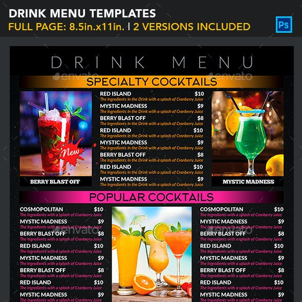 Drink Menu Templates - Generic