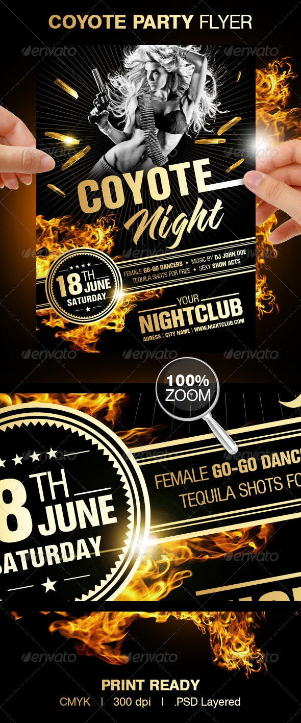 Coyote Night Party Flyer - Clubs & Parties Events