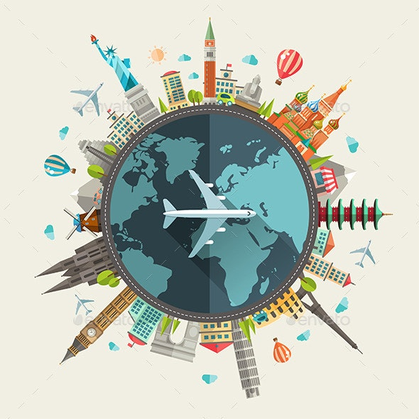 Travel Around the World Illustration - Travel Conceptual