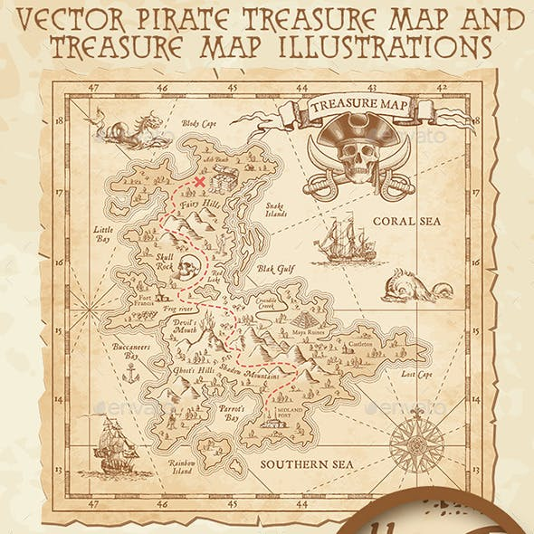 Pirate Treasure Map and Illustrations