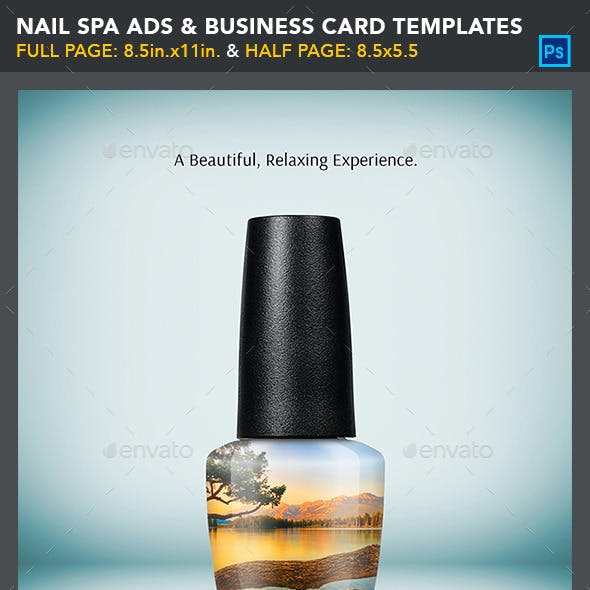 Nail Spa Ads & Business Card Templates