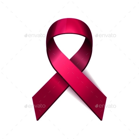 Breast Cancer Pink Ribbon On White Background