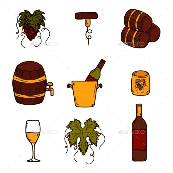 Set Of Cartoon Wine Icons In Hand Drawn Style