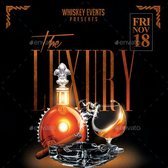 The Luxury | Whiskey & Cigar Flyer PSD Template