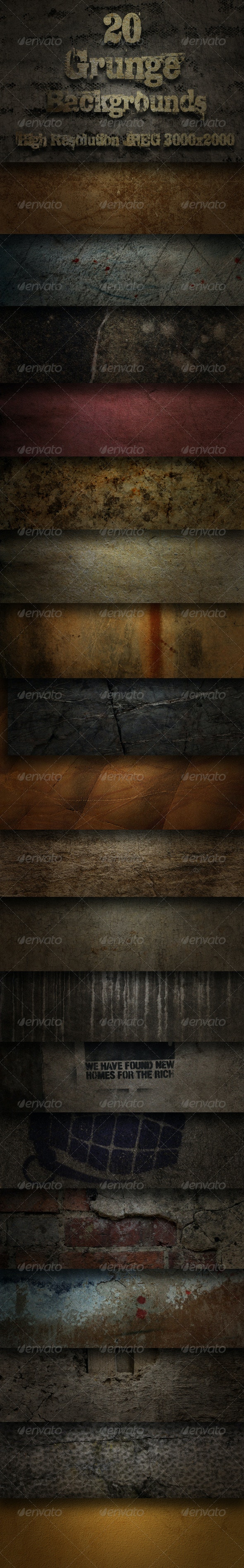 20 Grunge Backgrounds - Pack One  - Industrial / Grunge Textures