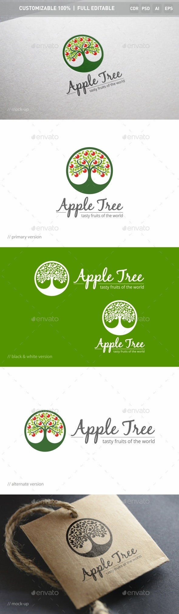 Apple Tree Logo Template - Nature Logo Templates