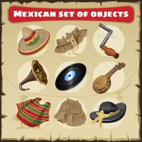 Set Of Traditional Mexican Things