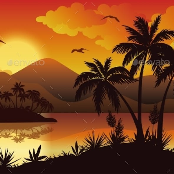 Tropical Islands, Palms, Flowers And Birds