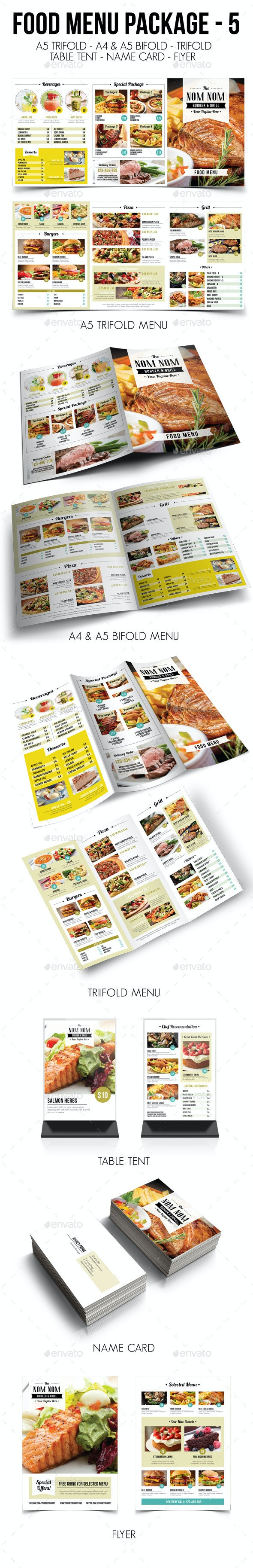 Food Menu Package 5 - Food Menus Print Templates