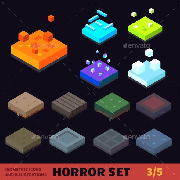 Isometric  Horror Vector Tile Set