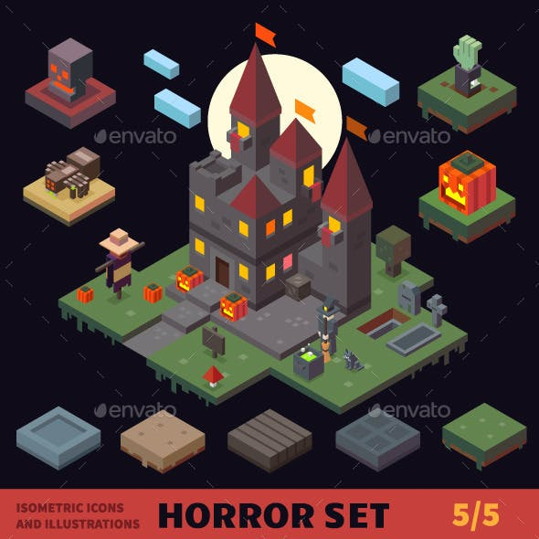 Isometric Horror Vector Flat Tiles and Objects