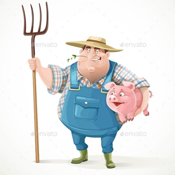 Thick Old Farmer In Overalls And a Straw Hat