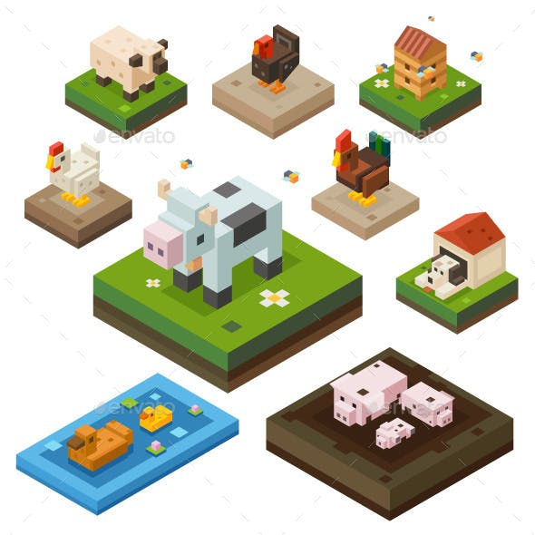 Isometric Farm Animals And Birds.