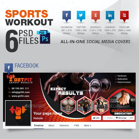 5 Social Media Cover Package for Workouts