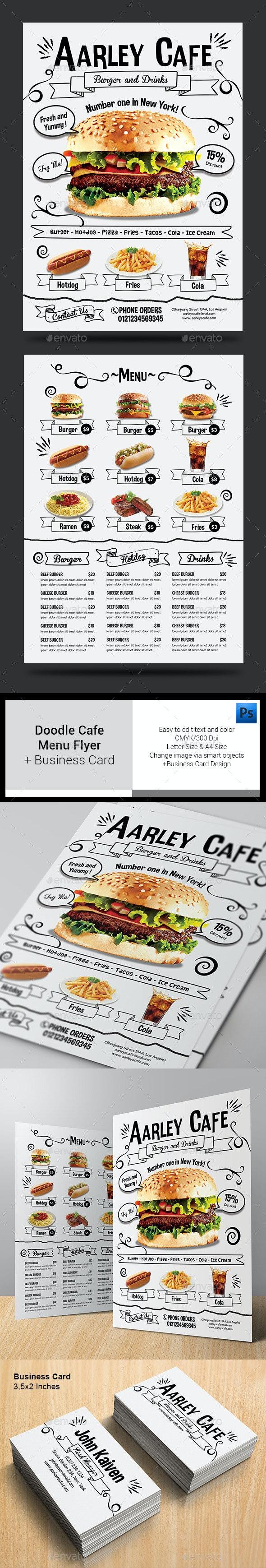 Doodle Cafe Menu + Business Card - Food Menus Print Templates