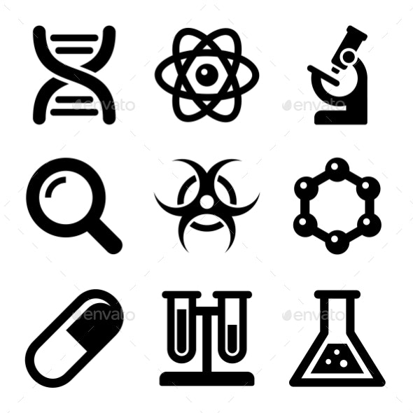Chemical Science Icons Set. Vector - Technology Icons