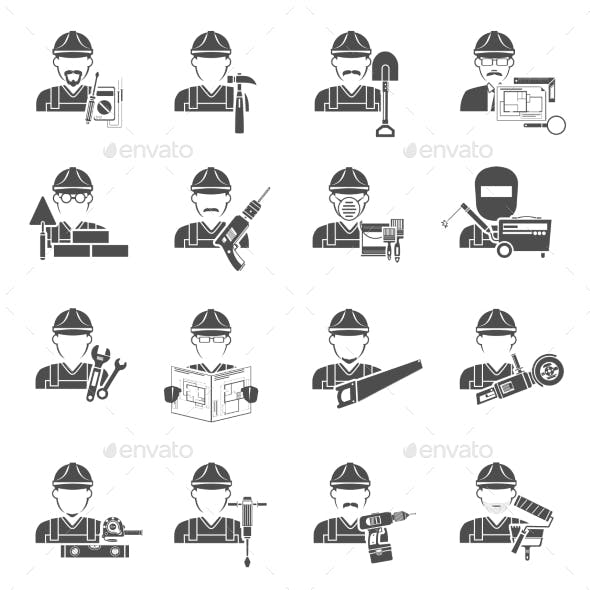 Worker Icons Black Set