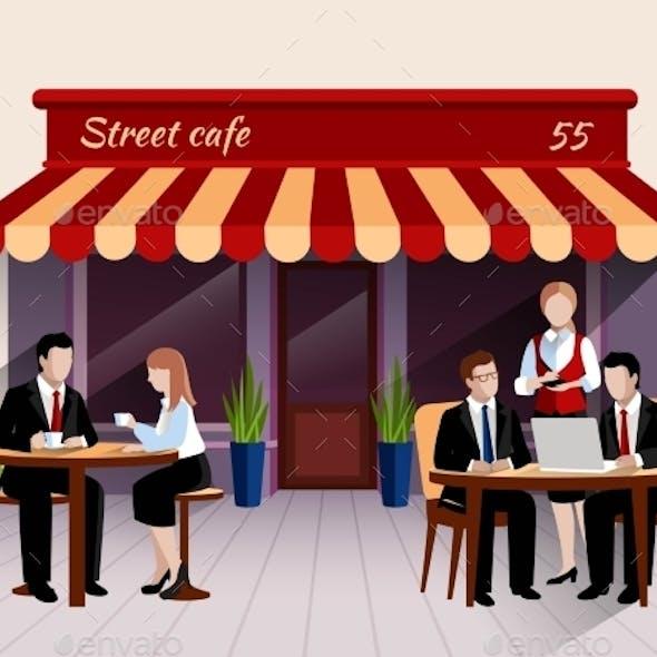 Street Cafe Customers Flat Banner Illustration