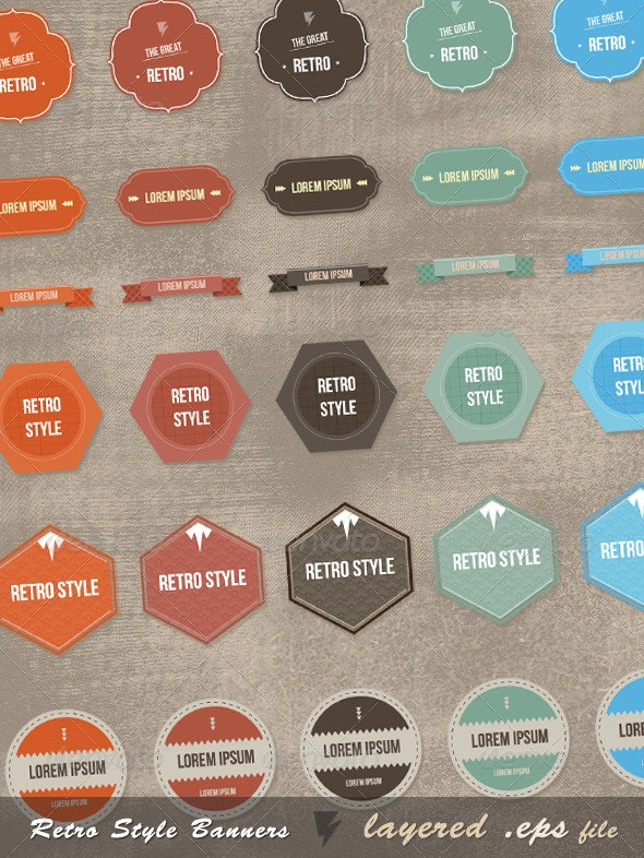 New-Retro Style Graphics - Decorative Vectors