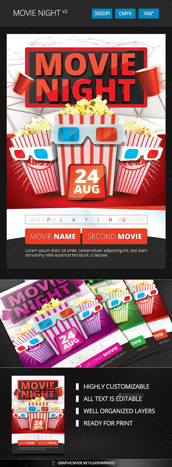 Movie Night Flyer v2 - Clubs & Parties Events