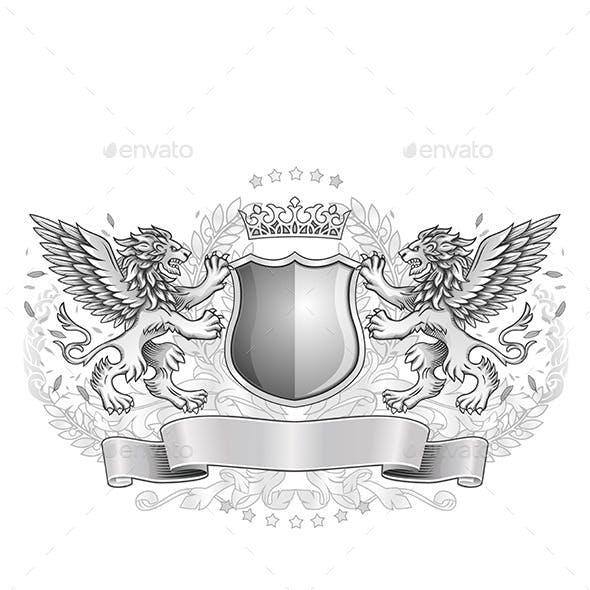 Winged Lions Holding Shield Emblem