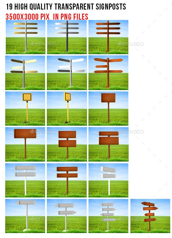 Signposts - Objects 3D Renders
