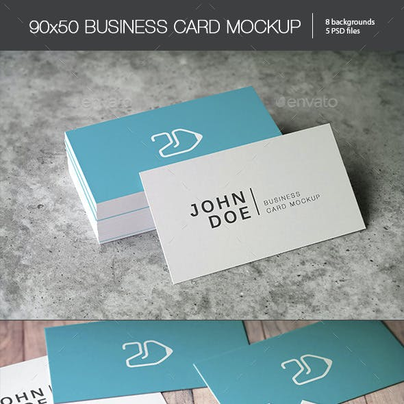 90x50 Business Card Mockup