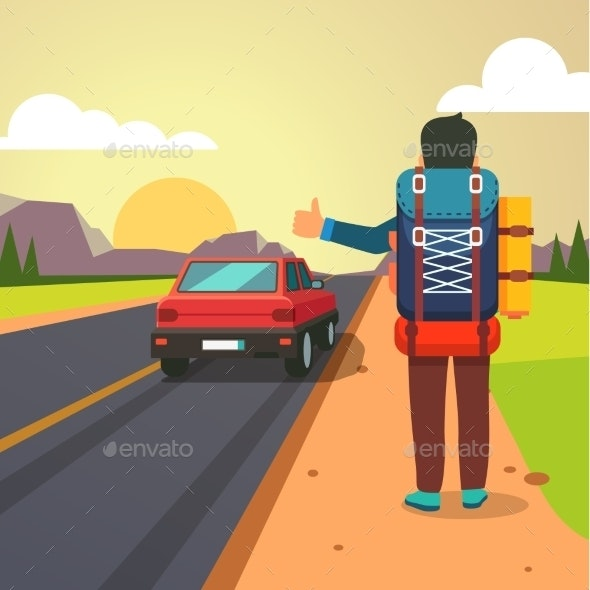 Hitchhiking Road Travel - Travel Conceptual