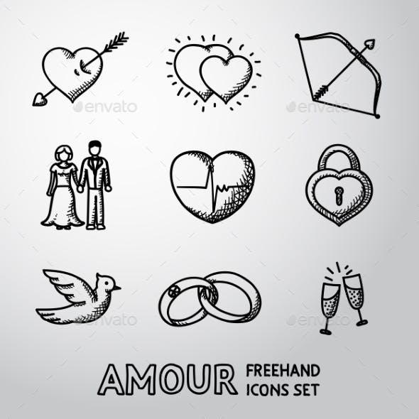 Set Of Handdrawn Love, Amour Icons  - Heart With