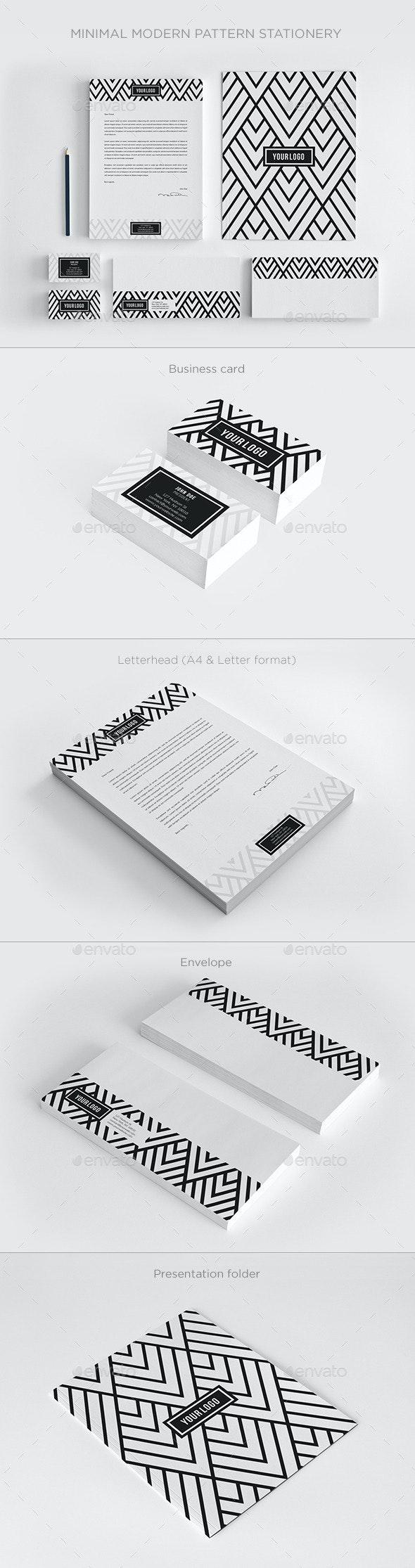 Minimal Modern Pattern Stationery - Stationery Print Templates