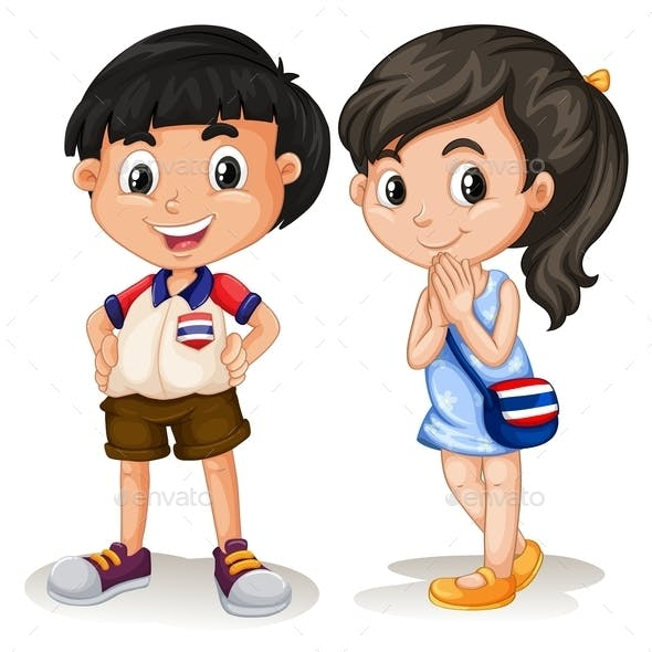 Thai Boy and Girl Smiling