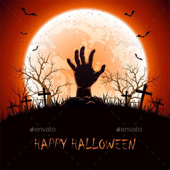 Halloween Background with Hand on Cemetery - Halloween Seasons/Holidays