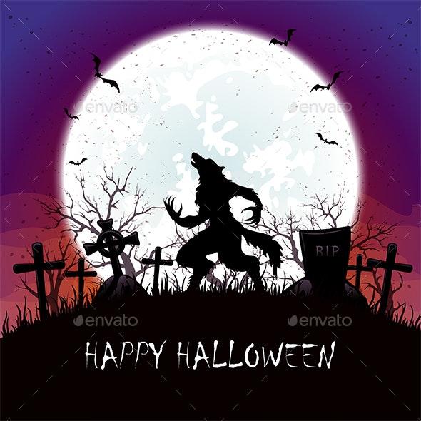 Werewolf on Cemetery - Halloween Seasons/Holidays