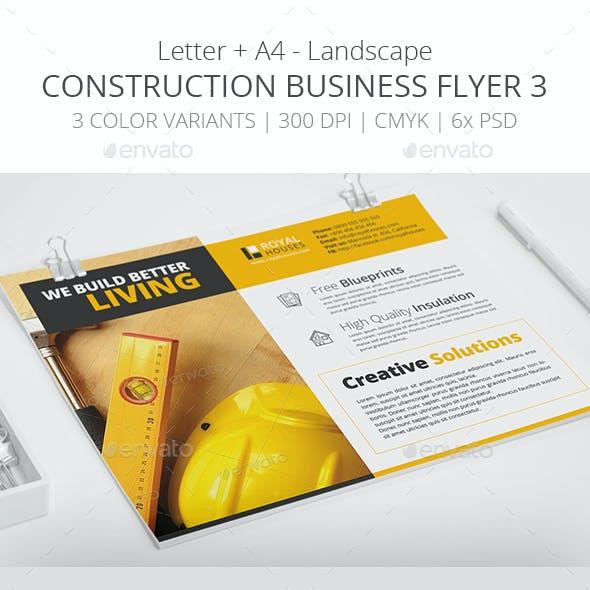 Construction Business Flyer 3 - Letter + A4