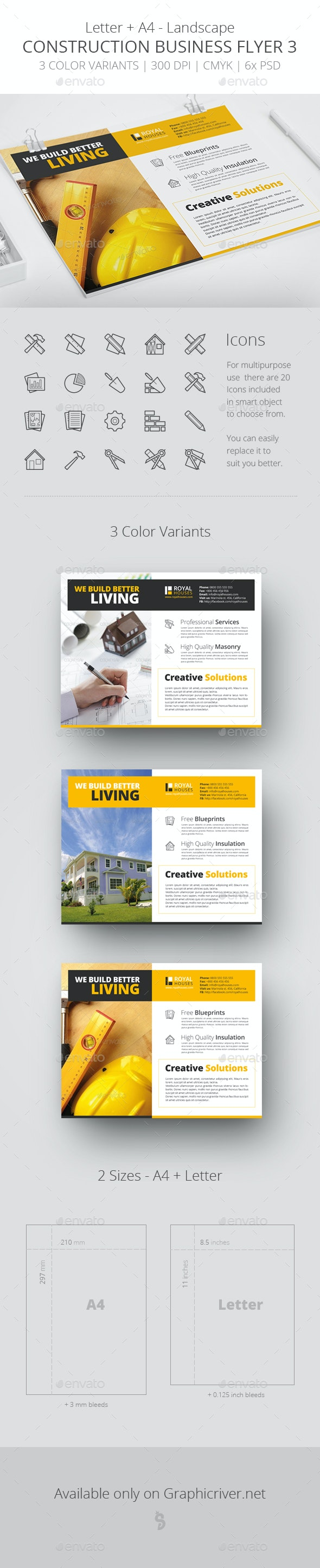 Construction Business Flyer 3 - Letter + A4 - Corporate Flyers