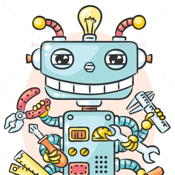 Cute Robot With Six Hands Holding Different